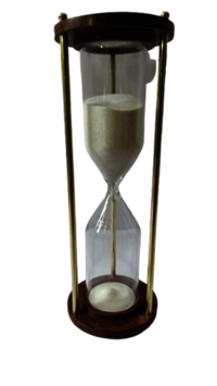 0196 Wooden sand timer 30min with brass piler
