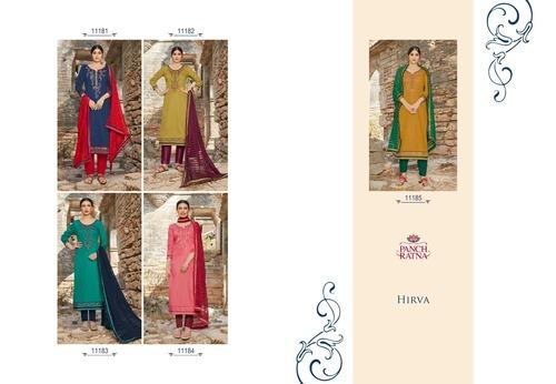 HIRVA Cottan Satin Work & Back Work Dress Materials