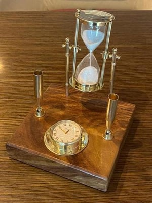 0090 Antique Pen Holder With Brass Sand Timer And Watch