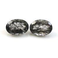 3x5mm Black Rutilated Quartz Faceted Oval Loose Gemstones