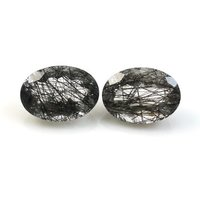 5x7mm Black Rutilated Quartz Faceted Oval Loose Gemstones