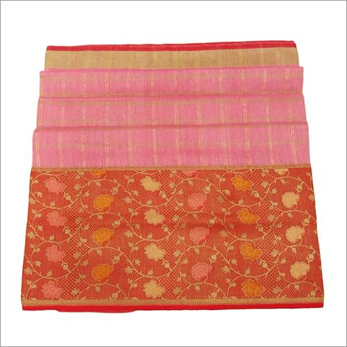 Ladies Linen Kadiyal Banarasi Handloom Saree