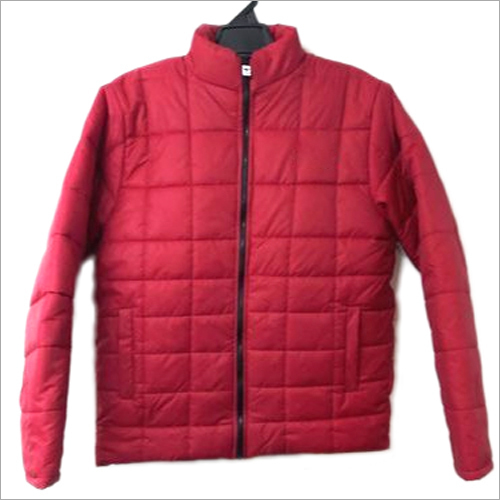 Mens Red Bomber Polyester Jacket
