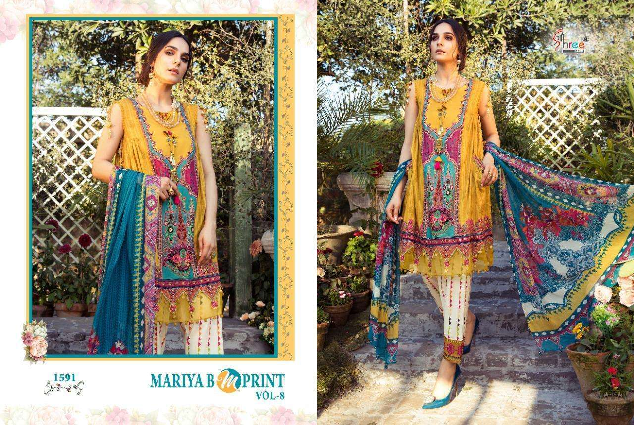 Shree Fabs Maria B Mprint Vol 8 Cambric Lawn Print With Embroidery Pakistani Suit Catalog