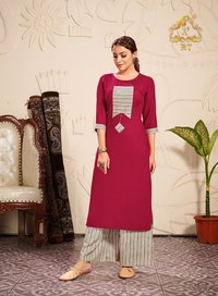 Plazzo Queen Vol-10 Rayon Kurtis With Plazzo