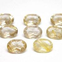 6x8mm Golden Rutilated Quartz Faceted Oval Loose Gemstones