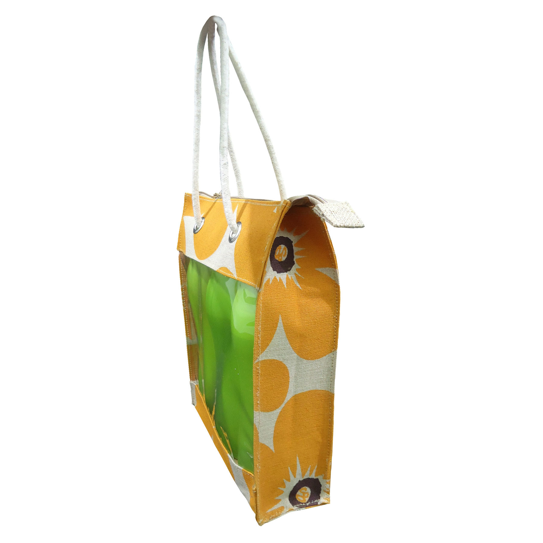 Pp Laminated Juco Both Side Window Bag With Cord Handle