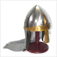 Norman Helmet With Chain-Mail And Wooden Base