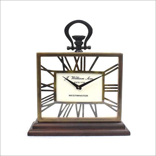 Desktop Office Clock On Wooden Base