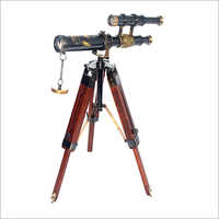 Double Barrel Telescope With Wooden Stand