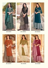 RIWAAZ Heavy Handwork on  Bemberg Silk Kurtis With Plazzo Dupatta