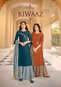 Riwaaz Heavy Handwork On  Bemberg Silk Kurtis With Plazzo Dupatta