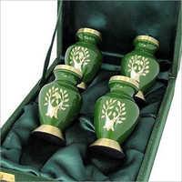 Green And Golden Brass keepsake urn 4 piece set