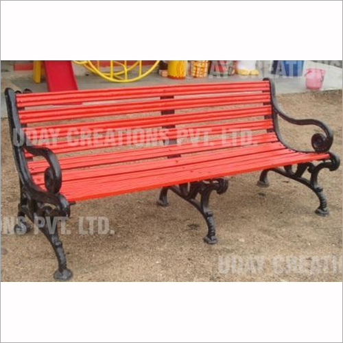 Red FRP 3 Stand Garden Bench 5.5 Ft