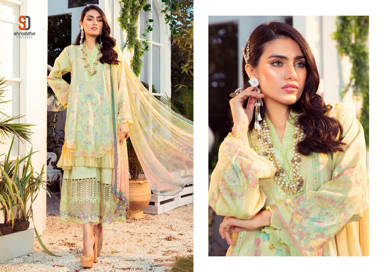 Shraddha Designer M Print Vol 6 Lawn Cotton Print With Embroidery Pakistani Suit Catalog