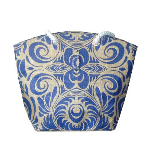 Natural Jute Tote Bag With Twisted Rope Handle & Zip Closure