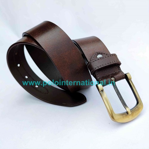Full Grain Leather Belt For Men With Brass Buckle.