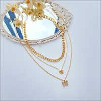 Ladies Butterfly Triple Chain Pendant