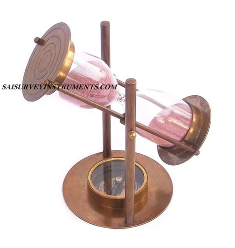 Brown Antique Sand Timer with Compass 5 Minutes