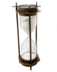 Antique Sand Timer with Two Sided Compass 5 Minutes
