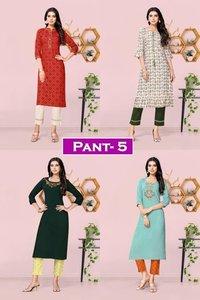 Pant Vol 5 Rayon, Cotton Flex Kurtis With Pants