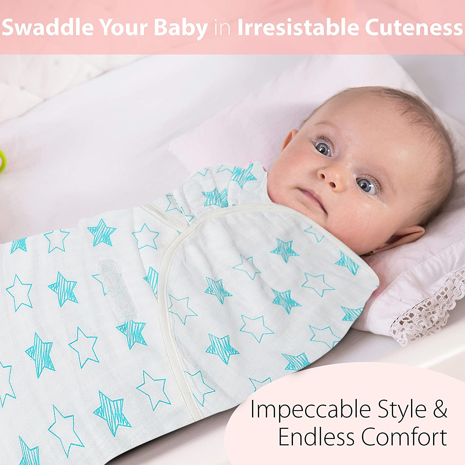 Baby swaddler combo made in soft muslin fabric