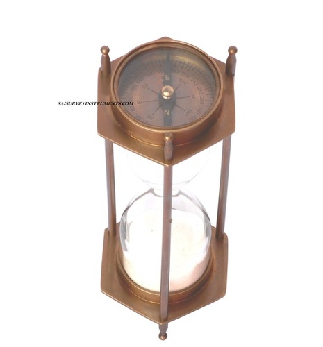 Antique Brass Sand Timer with Two Sided Compass  5 Minute