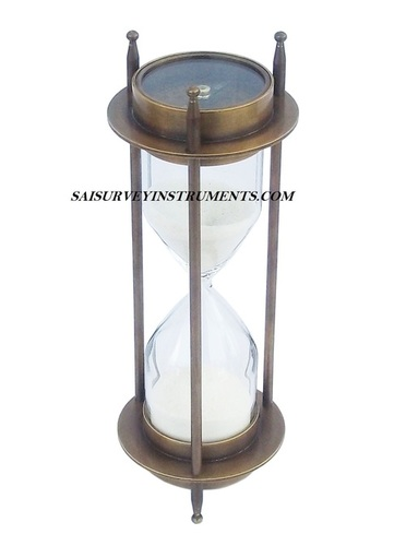 Antique Brass Sand Timer with Two Sided Compass