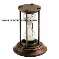 ANTIQUE BRASS SAND TIMER WITH WOODEN BASE