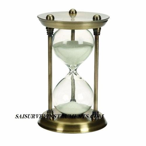 ANTIQUE BRASS SAND TIMER - 4 x 4 x 7 INCH (15 MIN)
