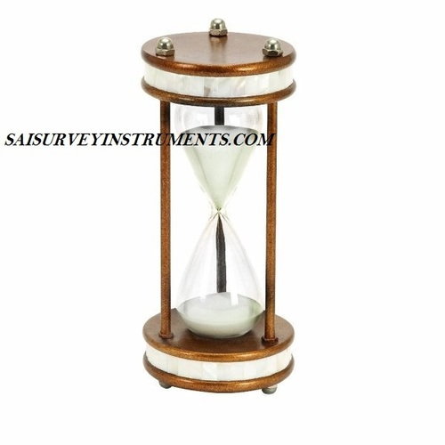 MOTHER OF PEARL WOODEN SAND TIMER - 6 x 6 x 13 INCH (60 MIN)