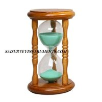 Nautical Wooden Hourglass Sand Timer With Green Sand (5 Min)