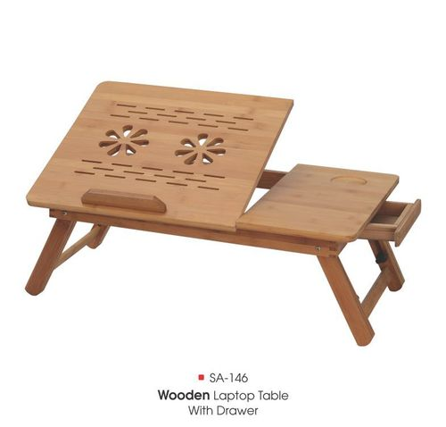 SA-146 Wooden Jali Laptop Table With Drawer