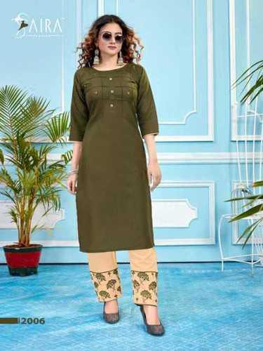 Ladies Fashionable Cotton Kurtis With Pant