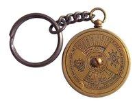 Antique Brass Key Ring Italic Calendar