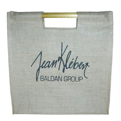Customized Straight Bamboo Handle One Color Logo Print Laminated Jute Promotion Bag