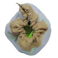Jute Drawstring Bag With Plastic Net Window