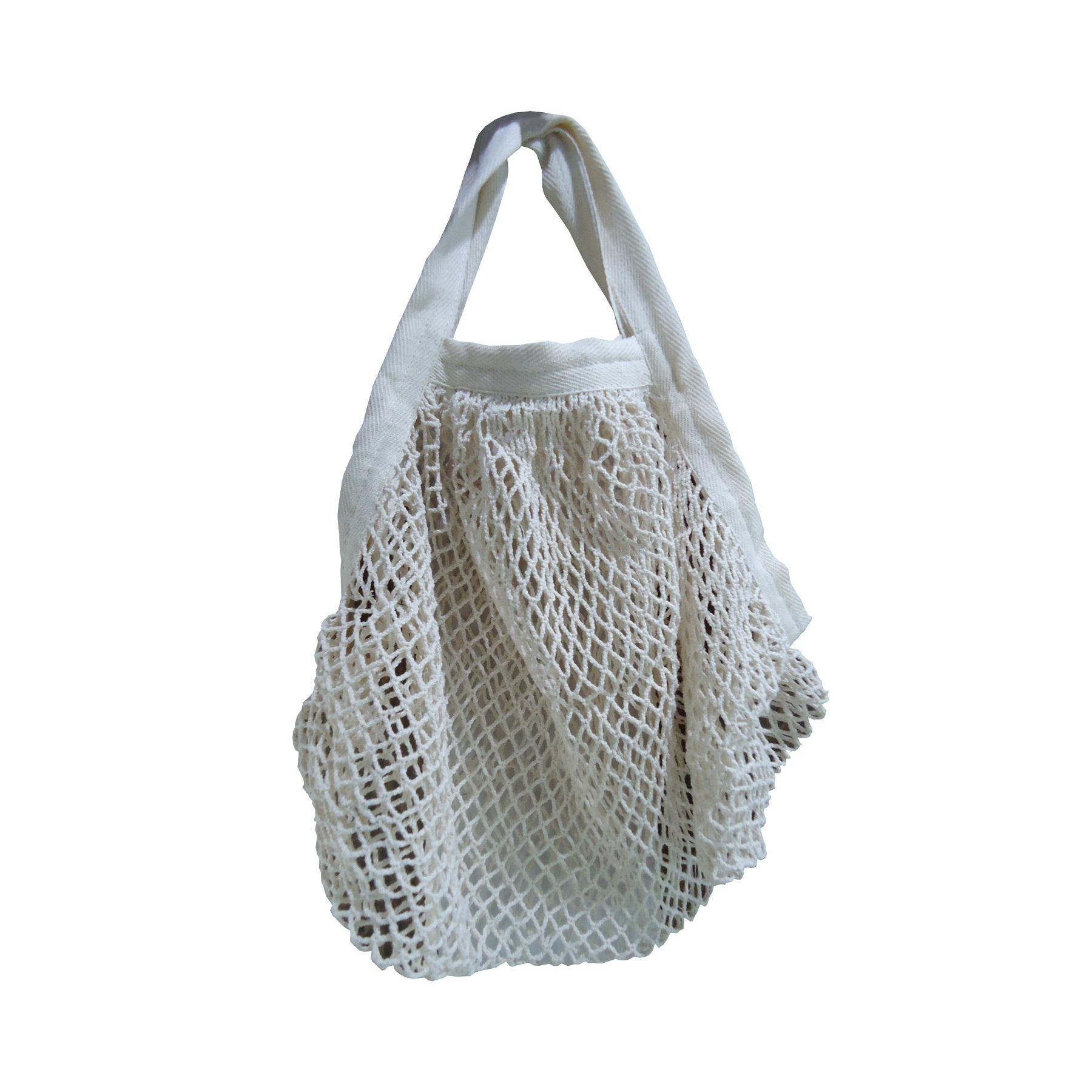 Square Texture Cotton Mesh Grocery Bag With Web Handle