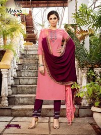 Manas Fab Kaara Fancy Dobby Weaving With Embroidered Readymade Suit Catalog