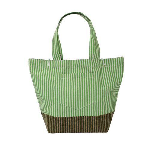 12 OZ Natural Canvas Tote Bag With Front Pocket With One Color Stripe Print All Over