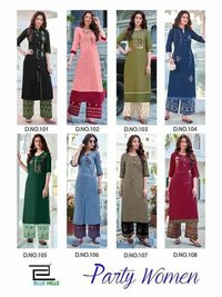 Party Women Rayon Slub Kurti With Pant