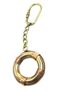 Brass Key Chain Nautical Life Ring Collectible Marine Miniature Life Ring for Key Ring