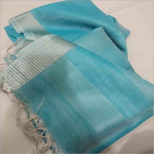 Ladies Sky Blue Tissue Linen Saree