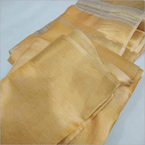 Ladies Golden Linen Saree