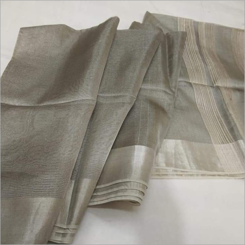 Ladies Grey Linen Saree