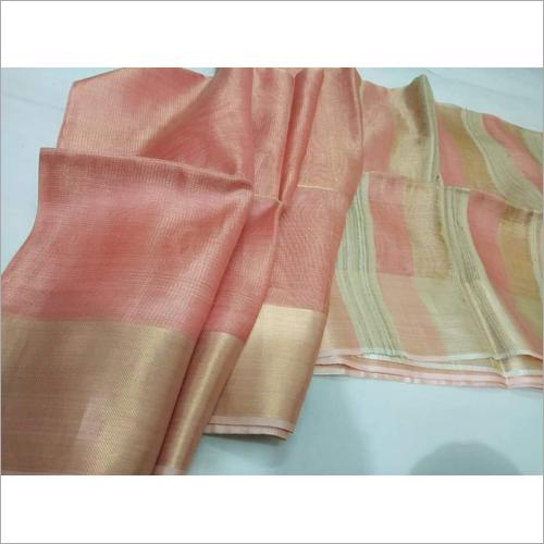Ladies Peach Tissue Linen Saree