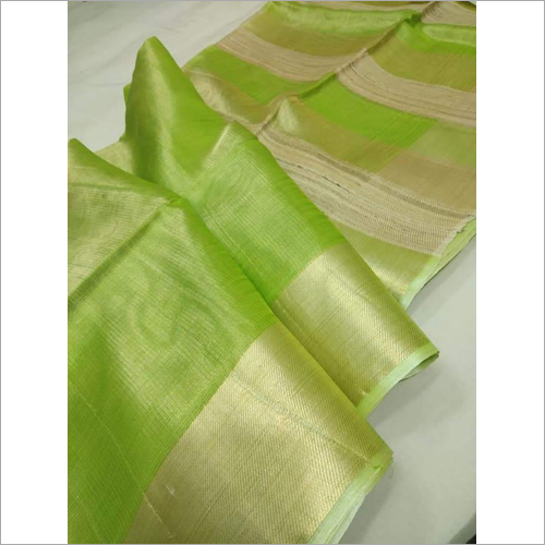 Ladies Light Green Linen Saree