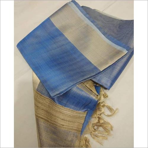 Ladies Blue Linen Saree