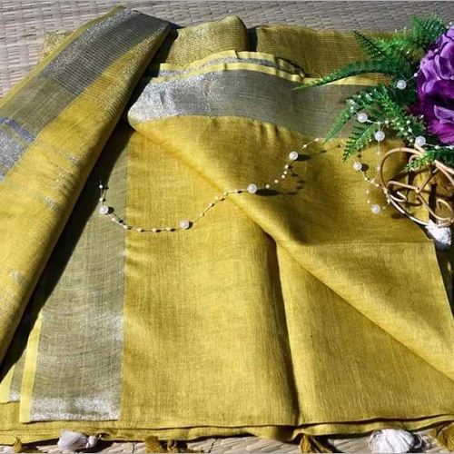 Ladies Plain cotton slub Saree
