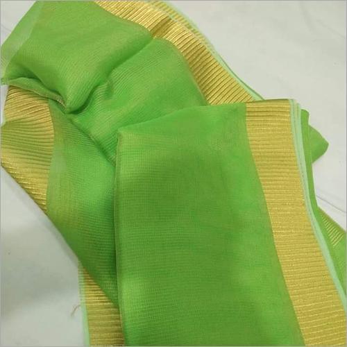 Ladies Green Tissue Linen Saree